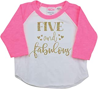 Girl Fifth Birthday Outfit, Fifth Birthday Shirt, Five and Fabulous Outfit
