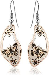 Handmade Copper Drop Dangle Earrings of Monarch Butterfly and Flowers, Butterfly Jewelry for Teen Girls and Women. Oval Shaped Monarch Butterfly Earrings/Butterfly Wing Earrings/Butterfly in Circle/