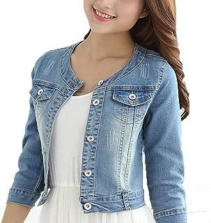 Women's Short Denim Jacket Round Neck Denim Three Quarter Sleeves Light Blue Jacket