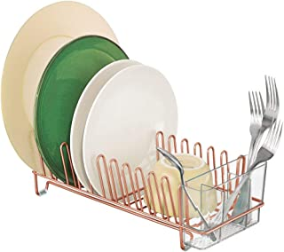 mDesign Compact Modern Kitchen Countertop, Sink Dish Drying Rack, Removable Cutlery Tray - Drain and Dry Wine Glasses, Bowls and Dishes - Metal Wire Drainer, Plastic Silverware Caddy - Copper/Clear