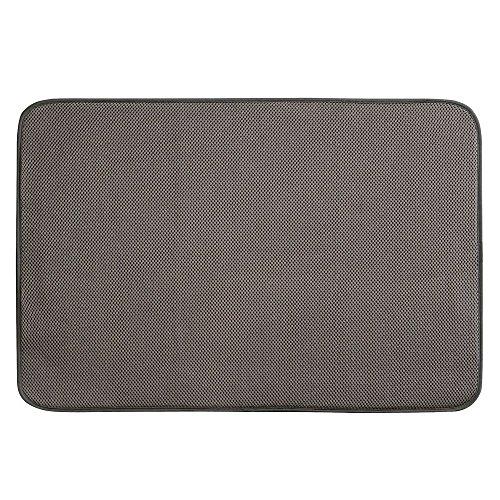 iDesign iDry Abtropfmatte extragroß, dünne Spülbeckenmatte aus Polyester zum schnellen Trocknen von Geschirr, mokka-/elfenbeinfarben