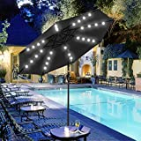 Yescom 9Ft 32 Solar Powered LED Light Outdoor Patio Umbrella with 8 Rib Crank Tilt Aluminum for Backyard Pool Market Dining Table