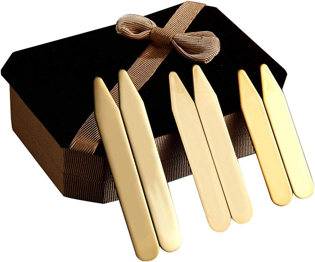 6Pcs Gold Stainless steel Collar Stays Shirt Collar Stiffeners in a Nice Gift Box Size 2.2