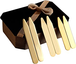 """6Pcs Gold Stainless steel Collar Stays Shirt Collar Stiffeners in a Nice Gift Box Size 2.2"""" / 2.5"""" / 2.75"""" (CP09-Gold No Note)"""