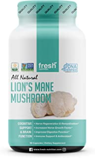 Organic Lions Mane Mushroom Capsules - Strongest DNA Verified Formula - Rich in Alpha Glucan - Powerful Superfood Suppleme...
