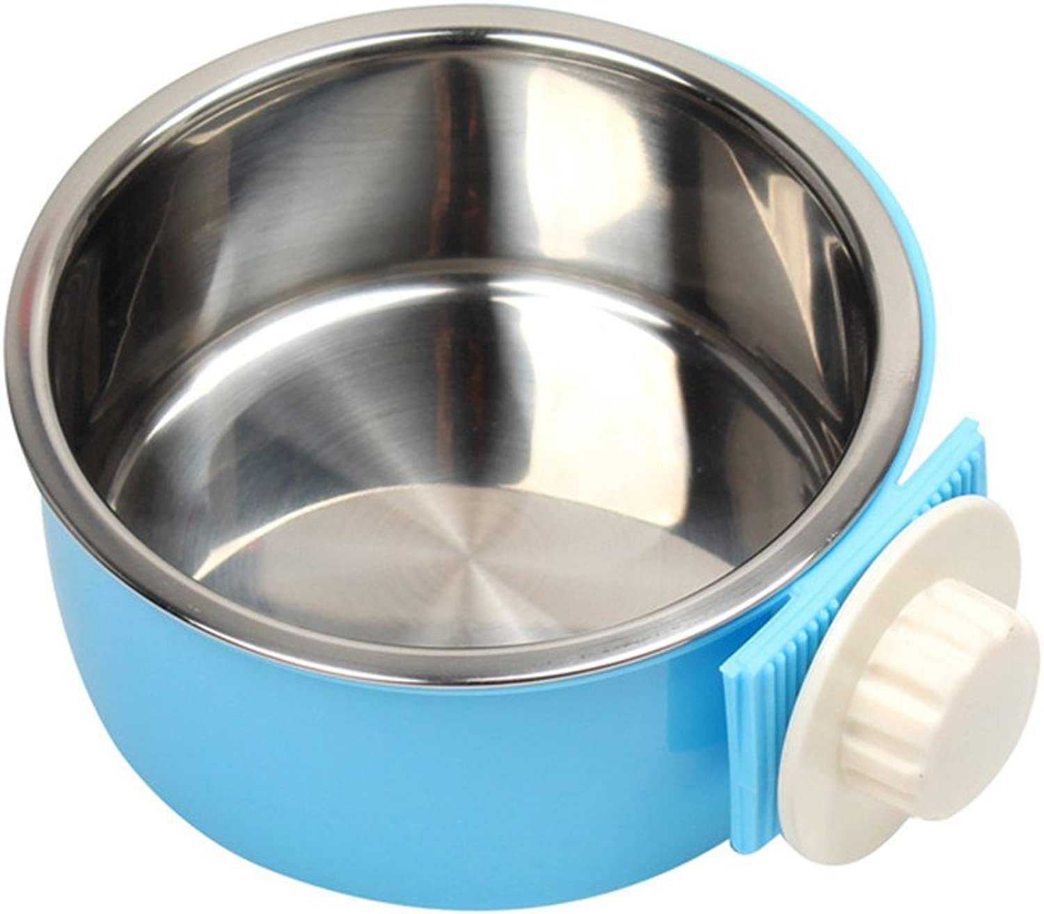 ForeverYou Pet Food Bowl Hanging Stainless Steel Dog Bowl Fixed cat Pot cat Bowl, bluee