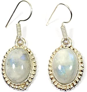 Reiki Crystal Products Rainbow Moonstone Earrings for Women and Girl Reiki Healing and Cryatal Healing Stone (Color: Off W...
