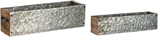 Set of 2 Galvanized Metal Window Box Planters