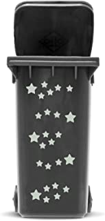 STICKER SET: STARS - 25 star sticker in 2 sizes | Self adhesive Star Sticker Kit for Wheelie Bin and House Decoration | Vinyl Waste Container Decals | UV & Weatherproof, font colour:silver