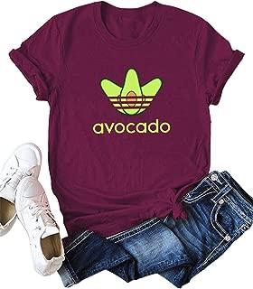 Camisetas con Estampado de Aguacate para Mujer Blusa de algodón de Manga Corta con Cuello Redondo Tops de Verano de Talla Grande
