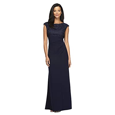Alex Evenings Long Cap Sleeve Empire Waist Dress with Embroidered Lace Bodice Women
