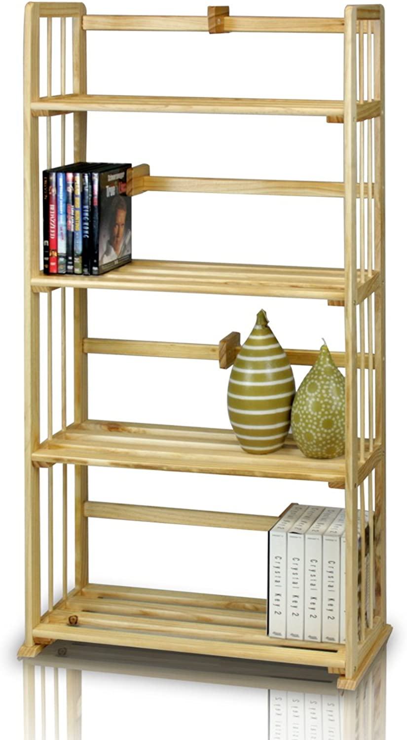 FURINNO FNCJ-33002 Pine Solid Wood 4-Tier Bookshelf