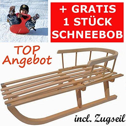 Holzschlitten mit Rückenlehne Kinderschlitten Lehne Zugseil Rodel aus Holz Schneebob Gratis von rg-vertrieb