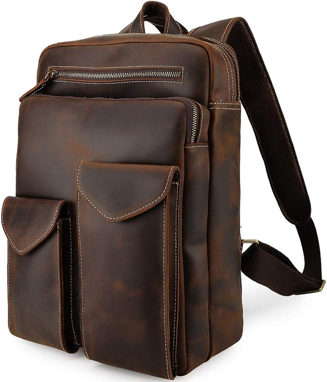 HOUYAZHAN Büro Dunkelbraun Retro Style Tragbare Leder Rucksack Tasche Business Aktentasche 14 Laptop (Farbe   Dark braun) B07MNKN5G9  Abgabepreis