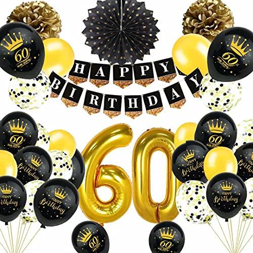 60. Geburtstag Deko Schwarz Gold, TOPLDSM Luftballons 60 Geburtstag, Geburtstagsdeko 60 Jahre Party Deko mit Happy Birthday Girlande,Pompoms, Folienballon Zahl 60,Konfetti Ballon für Frauen Männer