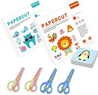 Kids Paper Cut Set 200 Sheets Kids Cutting Paper Children Educational Toys Child Gift Box with Four Safety Training Scisso...