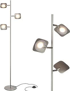 Brightech Tree Spotlight LED Floor Lamp - Very Bright Reading, Craft and Makeup 3 Light Standing Pole - Modern Dimmable & Adjustable Panels - Corner Lamp - Satin Nickel