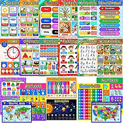 Educational Preschool Posters Learning Poster for Toddler Kid Kindergarten Classroom Learning Decoration, Large 16 x 11 Inch Nursery Homeschool Playroom Teaching Poster (Assorted Style, 20 Pieces)
