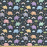ABAKUHAUS Elefante Tela por Metro, Elefantes Coloridos Pájaros, Decorativa para Tapicería y Textiles del Hogar, 2M (148x200cm), Multicolor