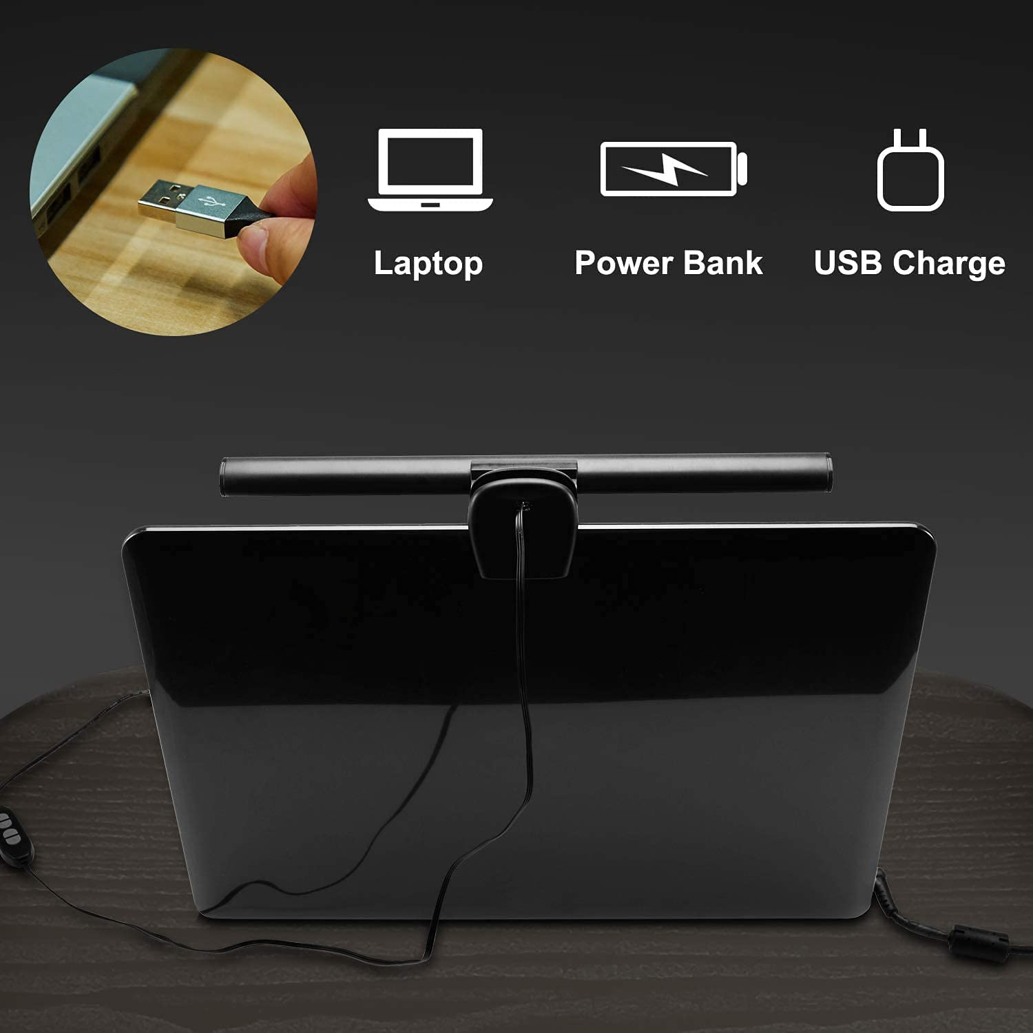 Computer Monitor Light Bar, No Screen Glare Led e-Reading Lamp with Clip, USB Powered Eye Health Care Light, Adjustable Brightness 3 Color Temperature, Office Lamp for Laptop Screenbar
