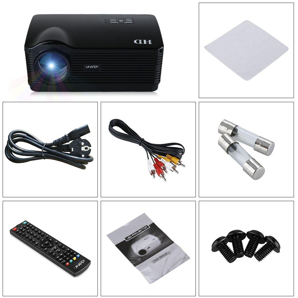 Uhappy H3 - HD Proyector (150W, 720P, HDMI/USB/SD/ATV/AV/VGA, 1280 ...