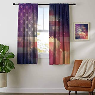 youpinnong American Flag, Curtains Blackout 2 Panels, Exposure USA National Outer Space Night Cloudy Free Universe Cosmos Display, Curtains for Girls Bedroom, W54 x L39 Inch Multicolor