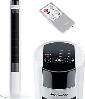 Pro Breeze Ventilador de Torre Oscilante 45W. con Temporizador y Mando a Distancia. Oscilación de 80°, 3 Modos de Funcionamiento y Altura 100 cm