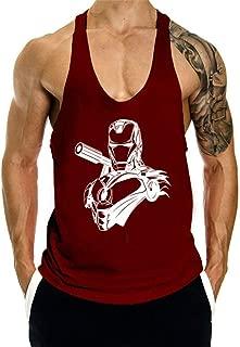 Men's Bodybuilding Stringer Workout Tank Tops Sleeveless Muscle Gym Shirts Iron Man Sleeveless Vest