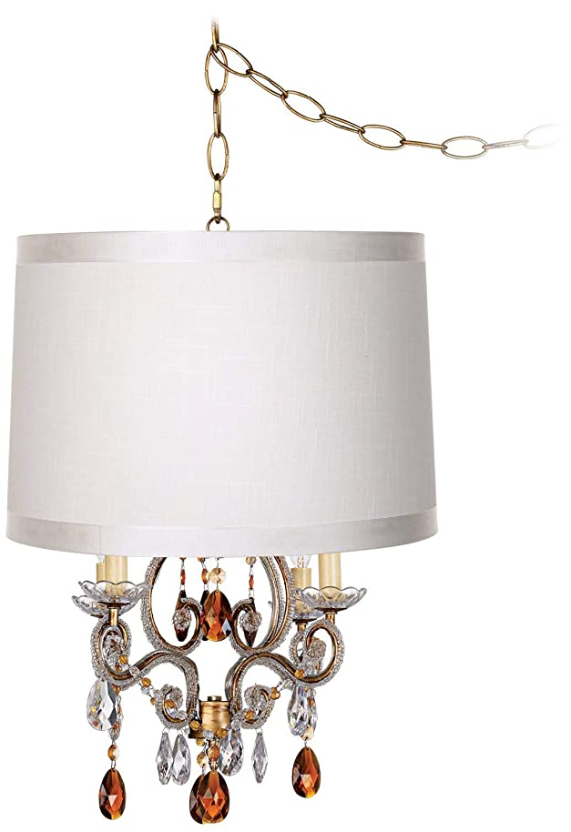 Leila Off-White Drum Shade Gold Plug-in Swag Chandelier - Regency Hill