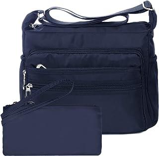 NOTAG Sac Bandouliere Femme, Impermeable Nylon Sac Messenger Multi-Poches Sac à Main avec RFID Portefeuille (L, Bleu)