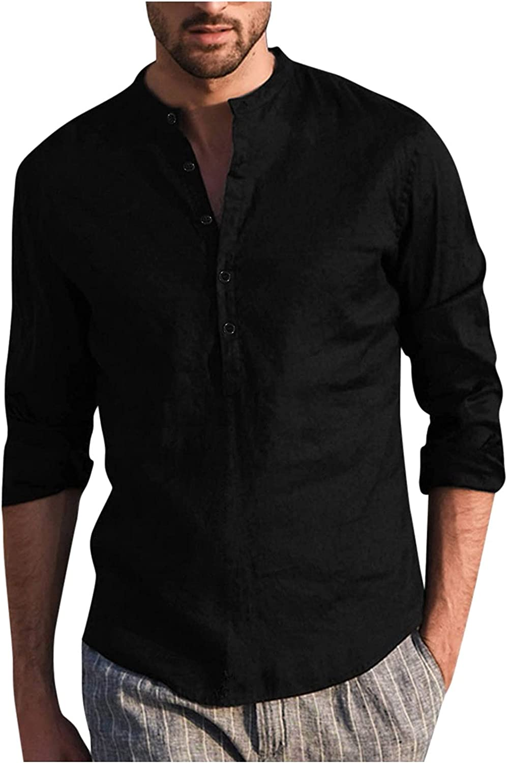 Aayomet Men's Cotton Linen Button Down Shirts Casual Long Sleeve T-Shirt Loose Fit Daily Yoga Sport Beach Tee Shirts Tops
