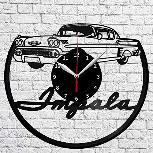 Vinyl Clock - Chevy Impala 1958 - Handmade Wall Clock - Vinyl Art Home Decor - Unique Vinyl Record Wall Clock - Custom Exclusive Vinyl Record Clock - Original Gift Idea - Black Clock 12'