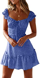 Yobecho Womens Summer Ruffle Sleeve Sweetheart Neckline Printing Dress Mini Dress