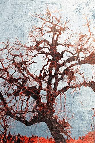 // TPCK // Original Abstrakte Kunst Eichenbaum, glänzender Druck, künstlerisches Fotoposter, Geschenk, Waldrosa Grunge-Textur, Größe: 53,3 x 35,5 cm