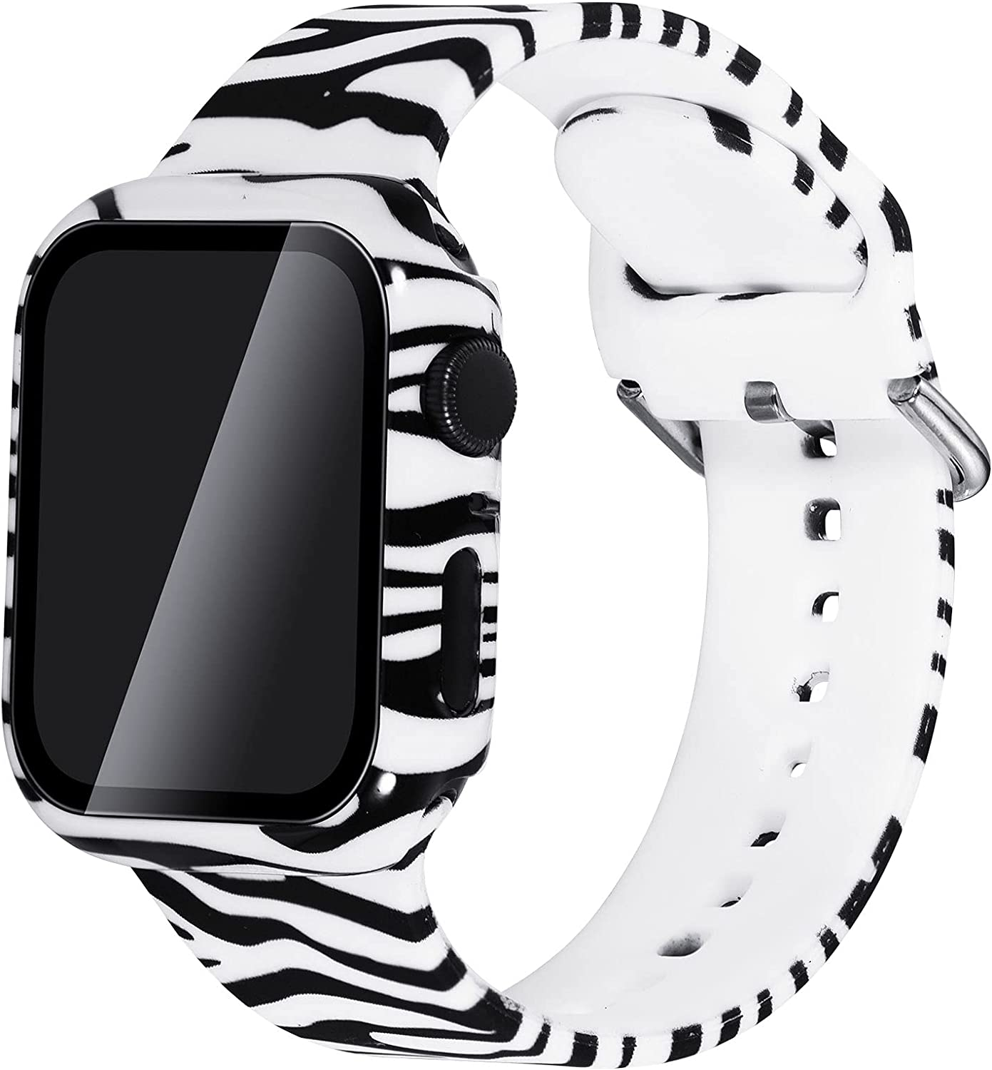 KADES Sport Band with Case Compatible with Apple Watch Bands 38mm 40mm 42mm 44mm, Floral Silicone Printed Fadeless Pattern Replacement Strap Band for iWatch (38mm, Zebra)