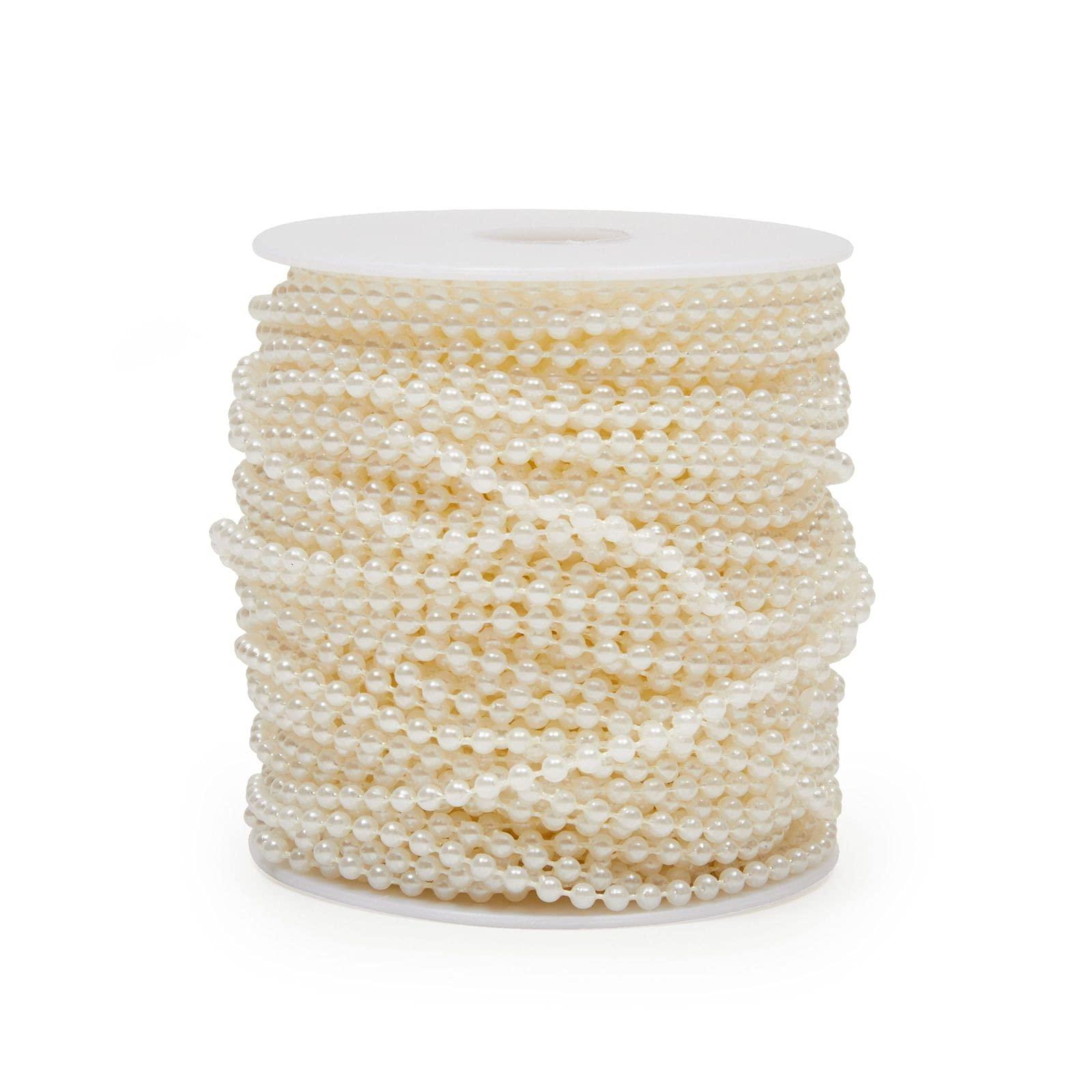Pearl Garland, Round Bead Trim Spool for DIY Crafts (3mm x 33 Yards)