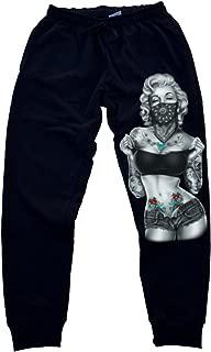 Marilyn Monroe Standing Bandana Men's Jogger Training Black Pants Running Fitted