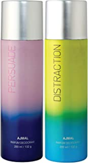 Ajmal Persuade & Distraction Deodorant Combo pack of 2 Deodorants 200 ml each (Total 400ML) for Men & Women + 2 Parfum Tes...