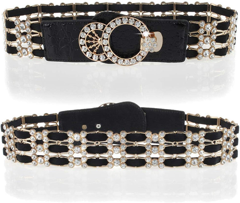 Diamond belt Dress decorative elastic waist seal Fashion hundred loose beltgolden 72cm(28inch)