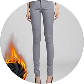 Glittering time-High Waist Pants Women's Warm Jeans for Woman Plus Size Candy Color Thick Velvet Winter Warm Jeans,Gray,33
