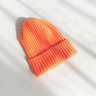 ZiWen Lu Ms. Autumn and Winter Wool Cap Knitted hat Female Winter hat Solid Color (Color : Orange, Size : Adjustable)