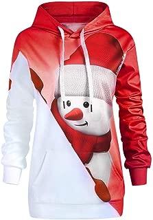 Women Drawstring Hoodie Christmas Kangaroo Pocket Cartoon Snowman Print Sweatshirt Pullover Top