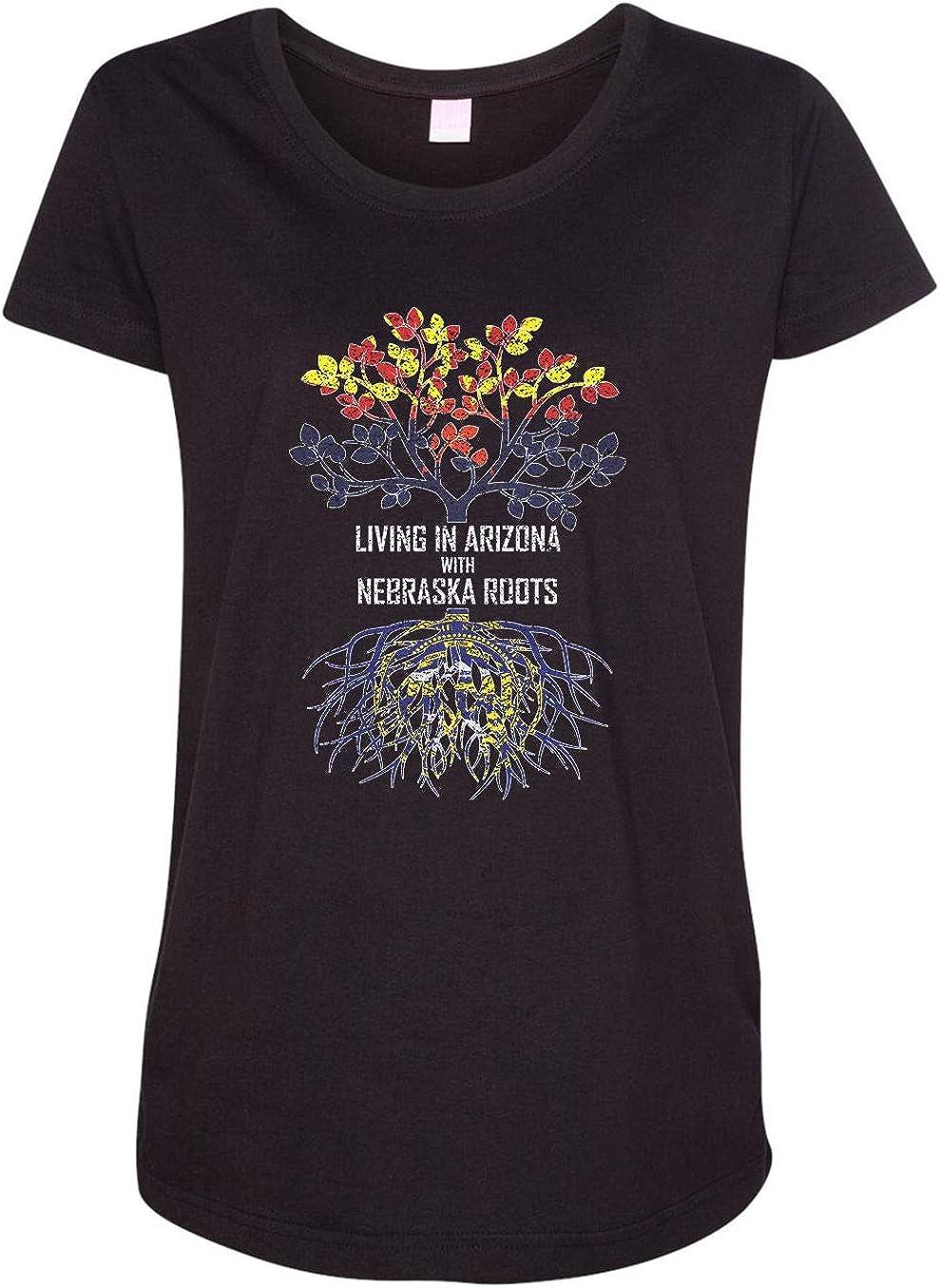 HARD EDGE DESIGN Women's Living in Arizona with Nebraska Roots T-Shirt