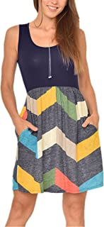 Poulax Women Casual Sleeveless Striped Print Swing Mini T Shirt Tank Dress with Pockets