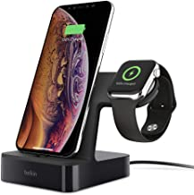 Belkin Powerhouse Charge Dock for Apple Watch + iPhone Charging Dock for iPhone Xs, XS Max, XR, X, 8/8 Plus and More, Apple Watch Series 4, 3, 2, 1 (Black) (Renewed)