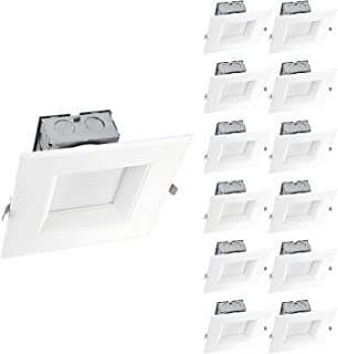 OSTWIN (12 Pack) 6 Inch Square LED Recessed Lighting Junction Box Dimmable LED Recessed Downlight IC Rated 15W (120W Repl) 4000K 1000Lm Lighting for offices, stores, hotels, ETL and Energy Star Listed