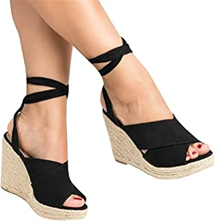 c00c63ca6dd Shele Womens Tie Up Suede Peep Toe Espadrille Platform Wedges Sandals  Classic Mid Heel Ankle Strap