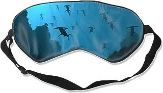 100% Silk Sleep Mask for Full Night's Sleep, Comfortable & Super Soft Eye Mask with Adjustable Strap, Blindfold Eyeshade Ocean Sea Blue Hammerhead Sharks Sleeping Cover for Airplane Nap Night