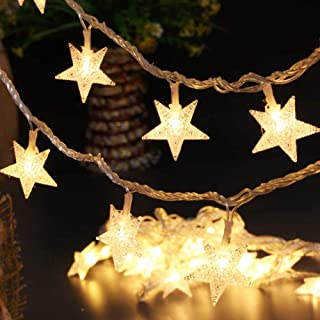 BJYHIYH Battery Powered String Lights 16ft 40 LED Star Fairy Lights for Bedroom Christmas Wedding Party Indoor Outdoor Decoration(Warm White)