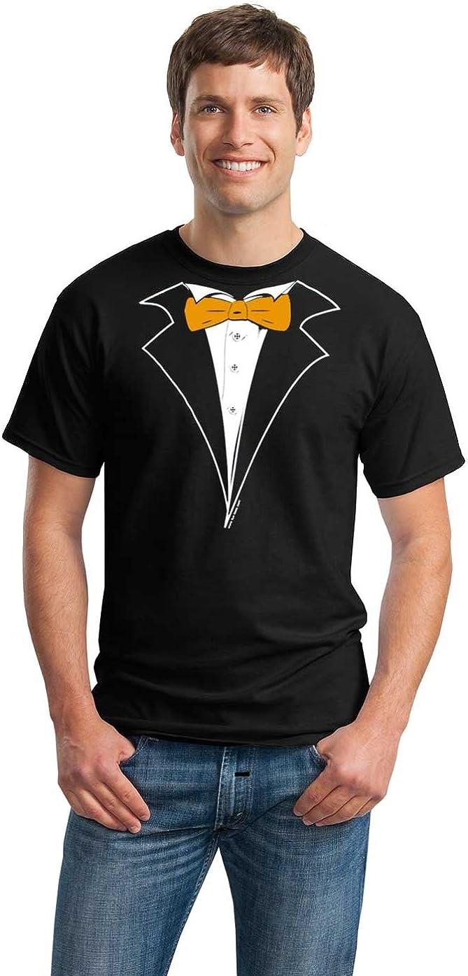 Classic Black Tuxedo T-Shirt with Orange Tie